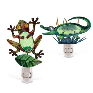 Puzzled 2-piece Frog and Alligator Night Light Set