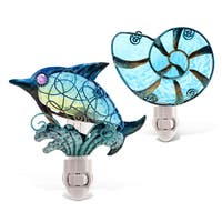 Puzzled Inc Blue Dolphin and Shell Night Light Set
