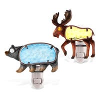 Puzzled Black Bear and Moose Night Lights