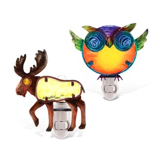 Puzzled Moose And Owl NIght Light