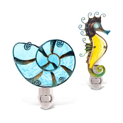 Puzzled Sea Horse and Shell Night Lights