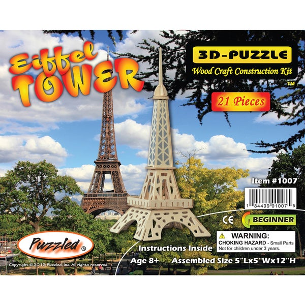 Puzzled Famous Sites Collection 3-millimeter Natural Wood Eiffel Tower 3D Puzzle
