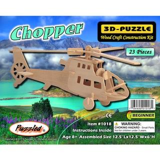 Puzzled Inc Wooden 23-piece Chopper 3D Puzzle