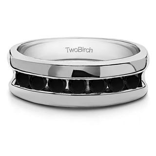 TwoBirch Sterling Silver Black Cubic Zirconia Men's Wedding Fashion Ring