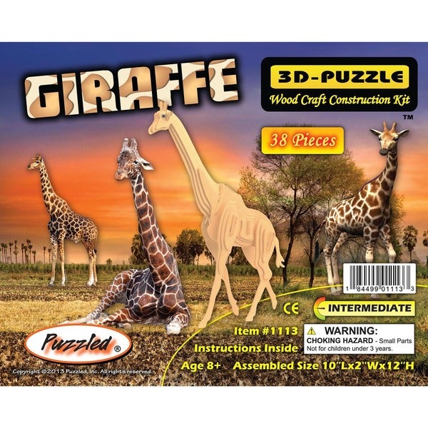 Puzzled Inc Wooden Giraffe 3D Puzzle
