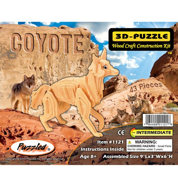 Puzzled 3D Puzzles Wood Coyote Construction Kit
