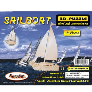 Puzzled Sailboat Wood 3D Puzzle