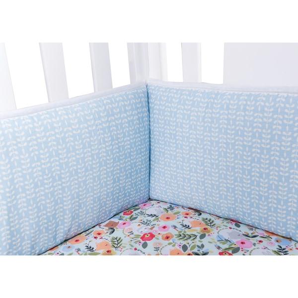Trend Lab My Little Friends White/Blue Cotton Cashmere 10-inch Crib Bumpers