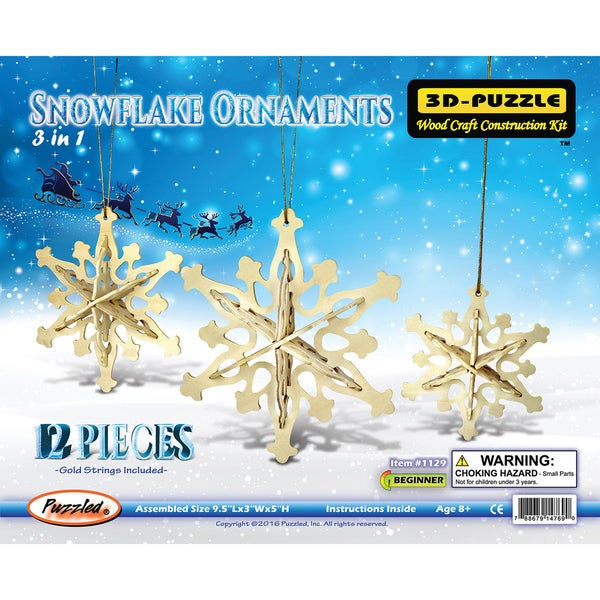 Puzzled Wood 'Snowflake Ornaments' 3D Puzzle Kit