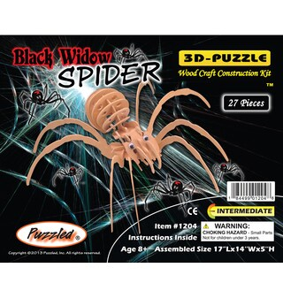 Puzzled Wood Black Widow Spider 3D Puzzles