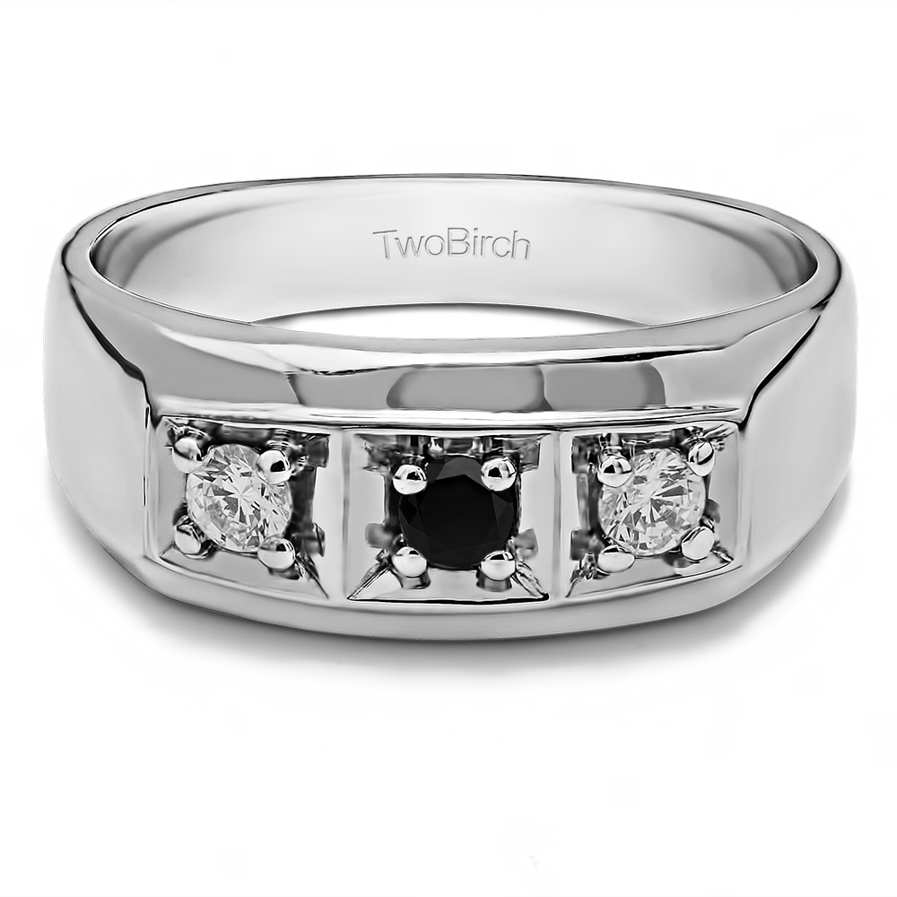 TwoBirch Men's Sterling Silver Black And White Cubic Zirc...