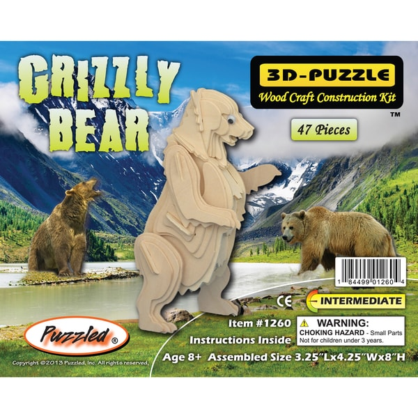 Puzzled Grizzly Bear Wood 3D Puzzle
