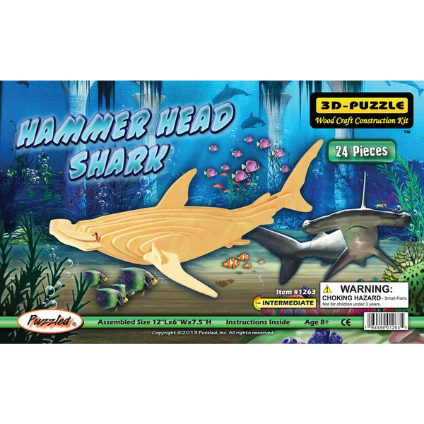 Puzzled Hammerhead Shark Wooden 3D Puzzle