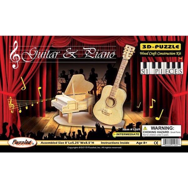 Puzzled Wood 'Guitar and Piano' 3D Puzzle Kit