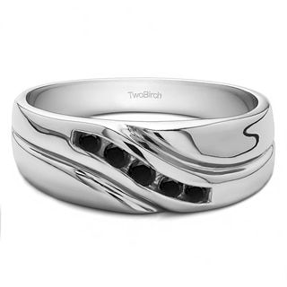 TwoBirch Sterling Silver Men's Wedding Fashion Ring with Black Cubic Zirconia (0.29 Cts.)