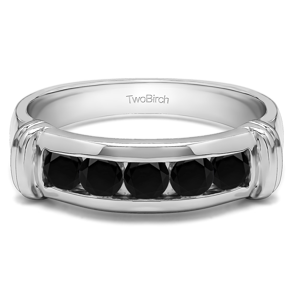 TwoBirch Men's Sterling Silver Wedding Fashion Ring with ...