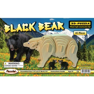 Puzzled Wood 'Black Bear' 3D Puzzle Kit