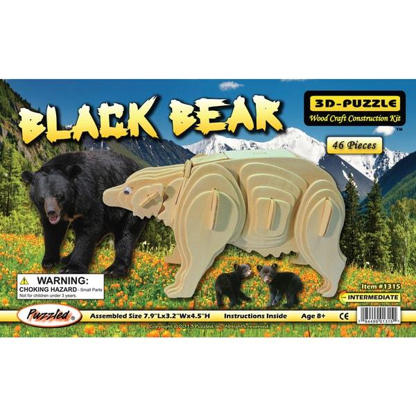 Puzzled Wood 'Black Bear' 3D Puzzle Kit