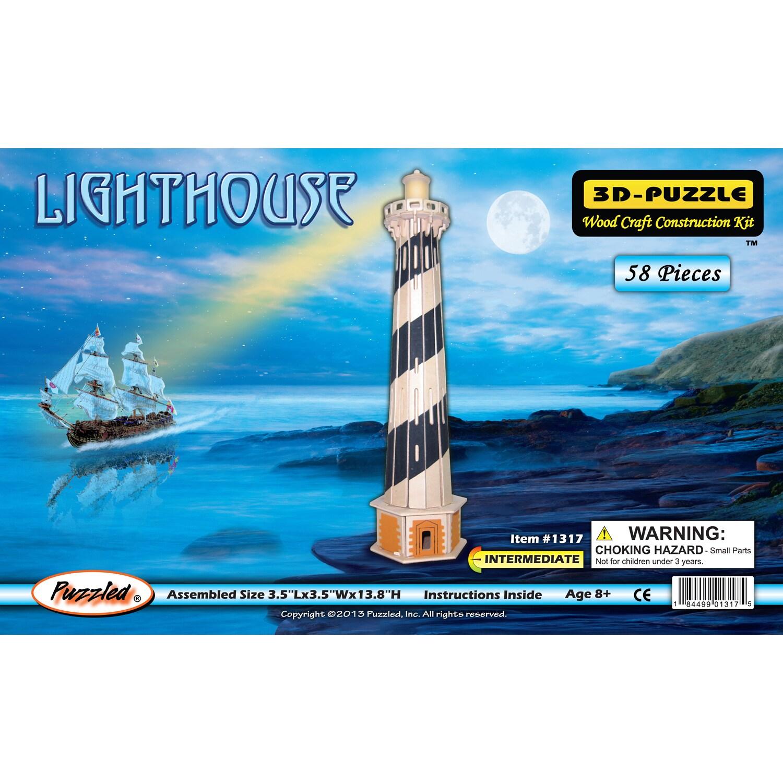 """Puzzled Wood 3D Lighthouse Puzzle (Assembled Size: 3.54""""L..."""