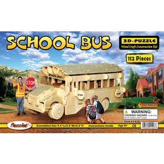 Puzzled Inc Wooden 112-piece School Bus 3D Puzzle