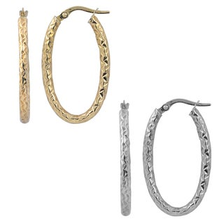 Fremada Italian 14k Gold 2.25mm Diamond-cut Oval Hoop Earrings (yellow gold or white gold )