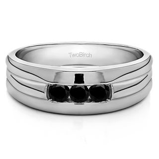 Sterling Silver .3 CT. Black Cubic Zirconia Men's Wedding Ring