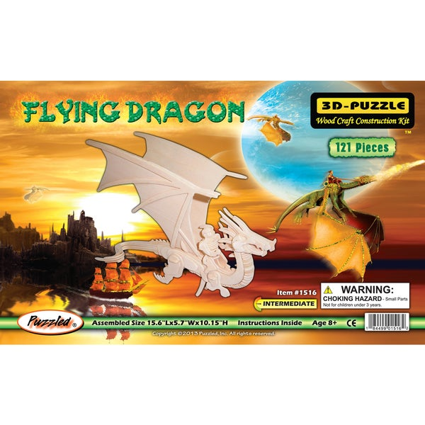 Puzzled Wood Flying Dragon 3D Puzzles