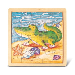 Puzzled Multicolored Wood Alligator Jigsaw Puzzle