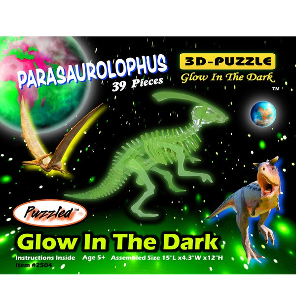 Puzzled Inc Wooden 39-piece Glow In The Dark Parasaurolophus 3D Puzzle