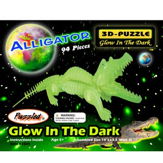 Puzzled Inc. 3-millimeter Natural Wood Glow In The Dark 94-piece 3D Alligator Puzzle