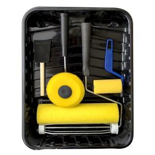 "Quali Tech Manufacturing 9RC-YF6PC 9"" X 3/8"" Nap Yellow High Capacity Foam Roller 6 Piece Kit"