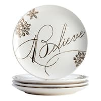 Paula Deen(r) Dinnerware Stoneware Holiday Salad/Dessert Plate Set, 4-Piece, Winter Charm Pattern, Cream