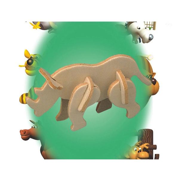 Puzzled Mini Wood 3D Rhinoceros Puzzle