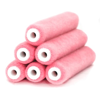 "Quali Tech Manufacturing 6MT025-6 6"" X 1/4"" Pink All-Purpose Paint Roller Cover Refill 6-count"