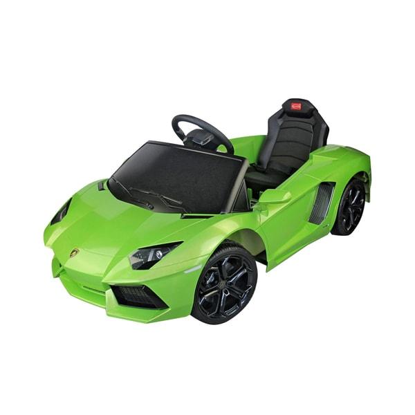 Lamborghini Aventador Green 6-volt Electric Car with Parent Remote Control