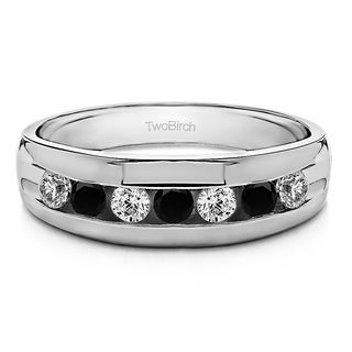 TwoBirch Men's Sterling Silver Wedding Fashion Ring with Black And White Cubic Zirconia Stones