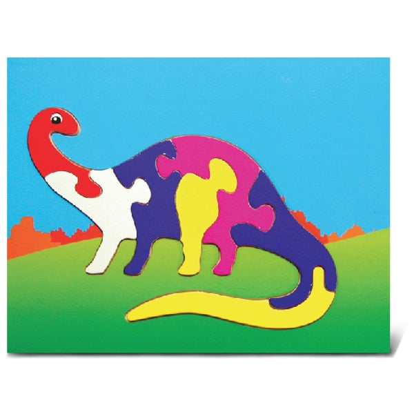 Puzzled Multicolored Woodd Apatosaurus Dinosaur Puzzle