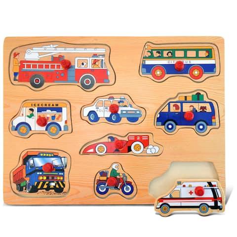 Puzzled Inc. Large Vehicles 1 Peg Puzzle