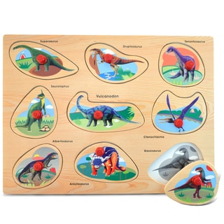 Puzzled Multicolor Wood Large Dinosaurs Peg Puzzle