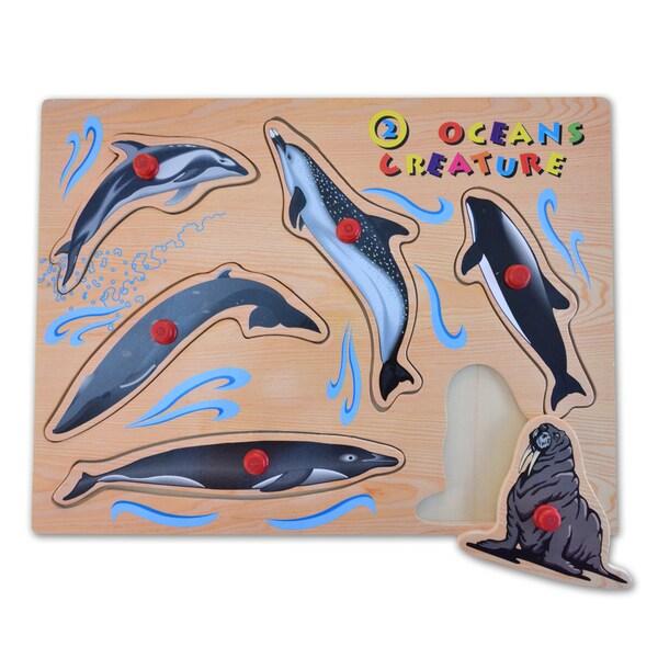 Puzzled Large Ocean Creatures 2 Peg Puzzle
