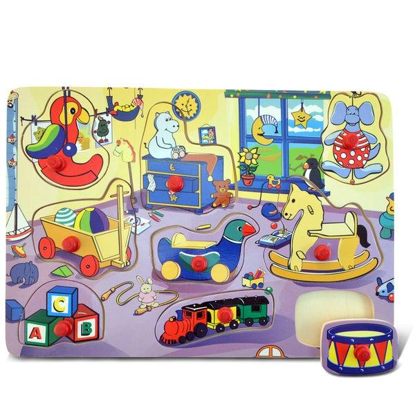 Puzzled Multicolor Wooden Large Children's Bedroom Peg Puzzle