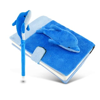 Puzzled Blue Polyester Plush Dolphin Notebook And Pen
