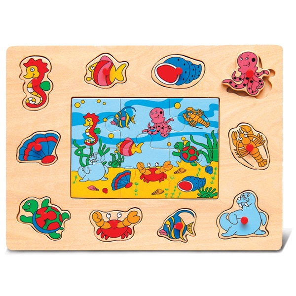 Puzzled Wood 'Ocean Life' Peg Jigsaw Puzzle