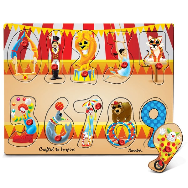Puzzled Inc Multicolor Wooden Numbers Circus Peg Puzzle