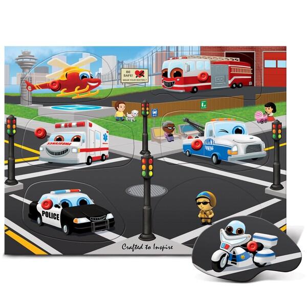 Puzzled Inc. Multicolored Wood Rescue Vehicles Peg Puzzle