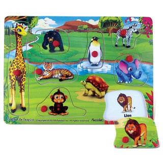 Puzzled Inc Multicolor 9-piece Happy Zoo Peg Puzzle