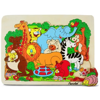 Puzzled Small Safari Animals Wooden Raised Puzzle