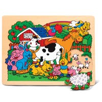 Puzzled Small Farm Animals Raised Wood Puzzle
