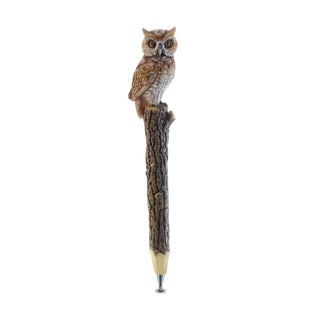 Puzzled Planet Pen Brown Resin Hand-painted Owl Pen