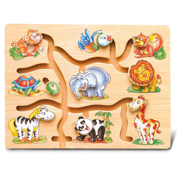 Puzzled Inc. Multicolored Wood Animal Maze Puzzle